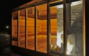 Hybrid solar sauna at night